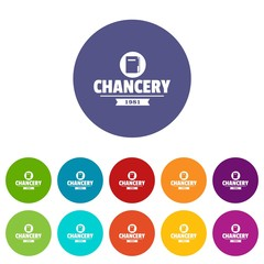 Chancery icons color set vector for any web design on white background