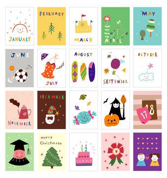 Various calendar postcard