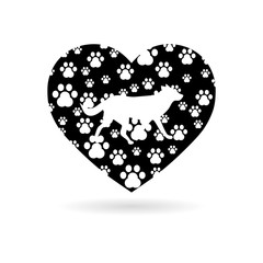 The dog's track in the heart icon or logo