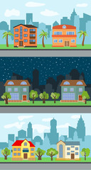 Set of three vector illustrations of city street with cartoon houses and trees. Summer urban landscape. Street view with cityscape on a background