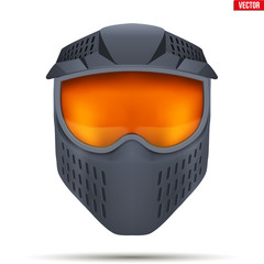Paintball mask with goggles. Equipment for Leisure activities of Paintball. Black color. Vector Illustration isolated on white background.