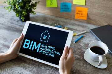 BIM - Building information modeling concept on screen. Wall mural