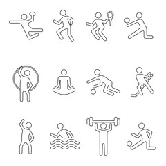 Sport linear icons set, vector silhouette, flat fitness logo, stencil emblem, line shape athlete person. Outline black badges team and singles various sports games isolated on white background