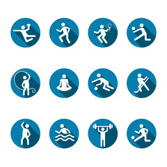 Sport vector icons set, flat fitness logo, emblem of the team and singles games. White badges athlete in a round blue frame with shadow isolated on white background