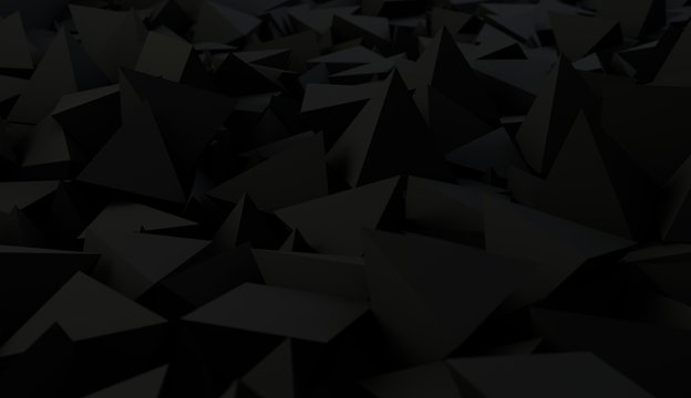 Abstract 3d dark rendering of geometric shapes. Modern composition. Background design with spheres for poster, cover, branding, banner, placard.