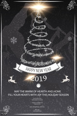 Black and white Happy new year poster & flyer with fir tree on chalk background. Winter holiday greeting card