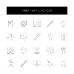Line icons set. Creativity pack. Vector illustration
