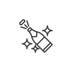Champagne popping outline icon. linear style sign for mobile concept and web design. Bottle of champagne explosion simple line vector icon. Symbol, logo illustration. Pixel perfect vector graphics