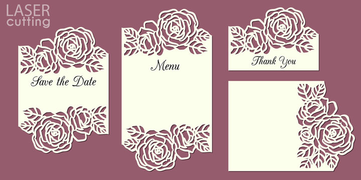Laser cut wedding invitation cards template set with roses patterned frame. Wedding or greeting cards kit for cutting.