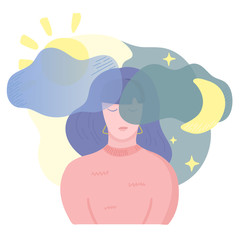 Mental disease illustration. Girl with sleep disorder problems and insomnia. Mental health weather concept. Vector illustration, cartoon flat style.
