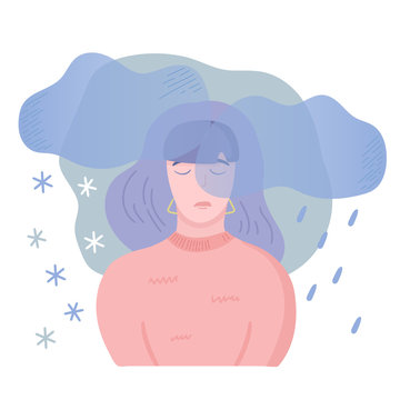 Mental disease illustration. Girl with seasonal affected disorder, feeling bad at the same time each year with depressive symptoms and little energy. Vector illustration, cartoon flat style.