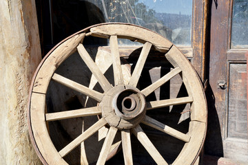 wheel of a wooden wagon