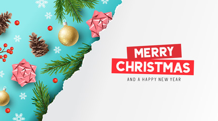 A merry christmas banner design with fir branches, bows, pine cones and decorations. Vector illustration.