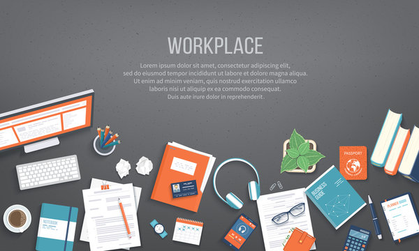 Workplace Desktop background. Top view of black table, monitor, folder, documents, notepad, books, purse, calendar, headphones, calculator, passport, crumpled paper. Place for text. Vector Top view