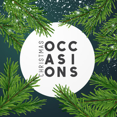 Christmas design layout composition with fir tree branches and falling snow. Top view Vector illustration.