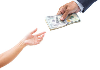 Businessman hand giving money. US. dollar banknote
