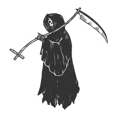 Grim reaper Death metaphor engraving vector illustration. Scratch board style imitation. Black and white hand drawn image.