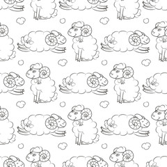 Fluffy sheep flying in the sky with clouds. Baby Wallpaper. Vector illustration. Seamless pattern background.