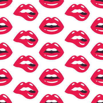 Lips pattern. Vector seamless pattern with woman's red sexy lips on white background.