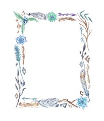 Watercolor Tribal Boho Frame with Feathers and Flowers