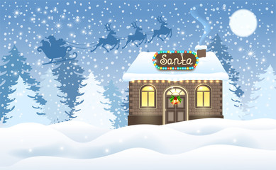 Christmas card with brick house and Santa's workshop and Santa Claus in sleigh with reindeer team