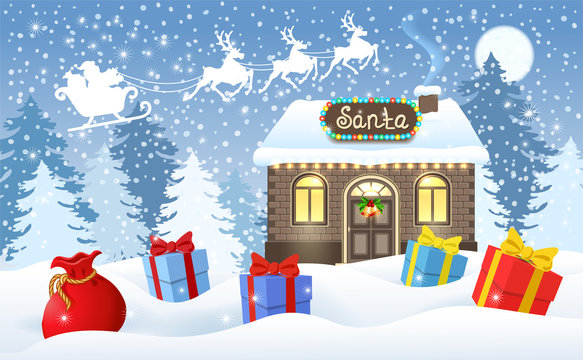 Christmas card with brick house and Santa's workshop, gift boxes, bag and Santa Claus in sleigh with reindeer team