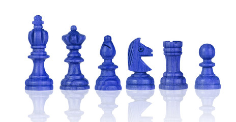 Blue chessmen Isolated on White