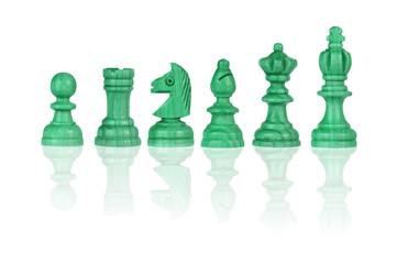 Green chessmen Isolated on White