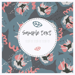Hand drawn creative universal freehand greeting card template with flowers. Birthday, wedding, party, social media banner template. Isolated vector card template.