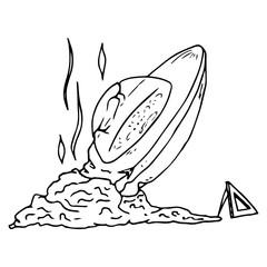 Broken UFO. The UFO crash. Vector illustration.