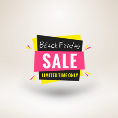 Black Friday sale sticker. Discount banner. Special offer sale tag. Vector illustration.