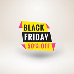 Black Friday sale sticker. Discount banner. Special offer sale tag. Vector illustration.