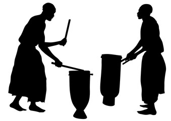 African musicians in national clothes with drums on a white background