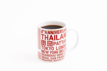 Bangkok - July 07 2018: UNIQLO 4th Anniversary gift is Coffee mug; Bangkok Thailand
