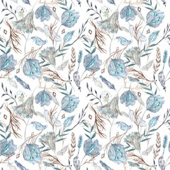 Romantic Boho Chic Watercolor Pattern with Feathers