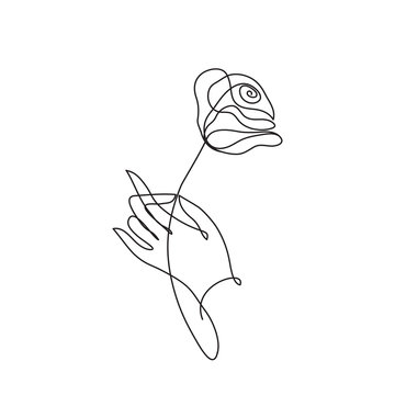Hand holding rose. Continuous line art. Minimalist style