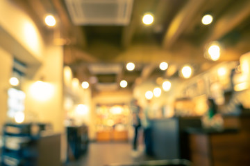 Blurred image of coffee shop used for background