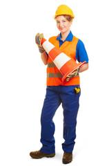Frau als Straßenbauer in Schutzkleidung