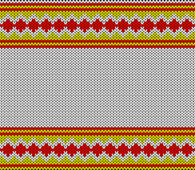 Imitation knitting fabric. Multicolor knitting ornament. Place for your text.