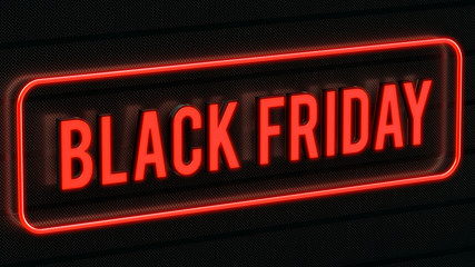 Black friday text surrounded by a red neon border
