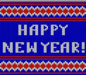 Knitted Lettering. Happy New Year. Imitation knitting fabric. Multicolor knitting - letters and ornament.