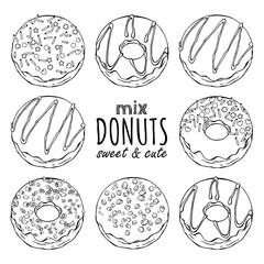 Group of vector illustrations on the sweets theme; set of different kinds of glazed donuts decorated with toppings, chocolate, nuts. Realistic isolated objects for your design.