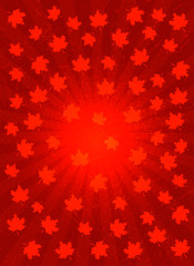 Background with symbols of Canada. Red background with center rays, maple leaves and grunge texture.