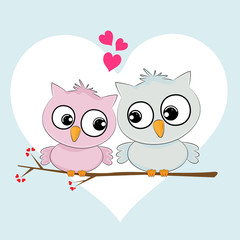 Greeting card two loving owls, happy birds are sitting on a tree.