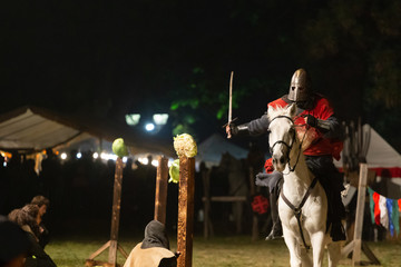 613318632a033 Medieval knight with sword on white horse running by night on a competition