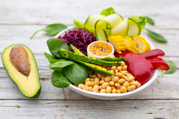 Buddha bowl with delicious and healthy colorful vegetables.