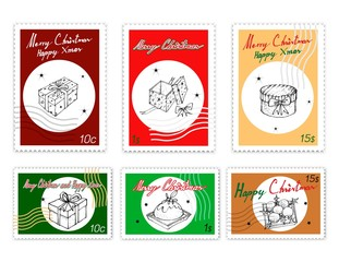 Merry Xmas, Post Stamps Set of Illustration Hand Drawn Sketch of Lovely Gift Boxes with Ribbons and Bows, Pudding Cake and Ornament Baubles, Sign for Start Christmas Celebration.
