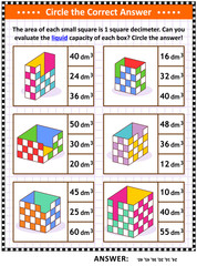 Math skills and IQ training visual puzzle or worksheet. Evaluate the liquid capacity of each box.  Circle the correct answer. Answer included.