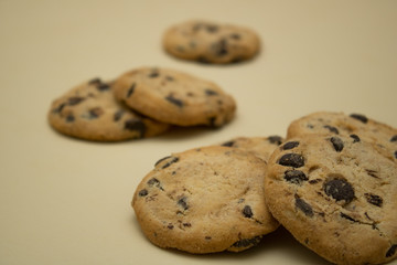 chocolate chip cookies isolated on light background