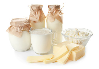 Different milk products on white background